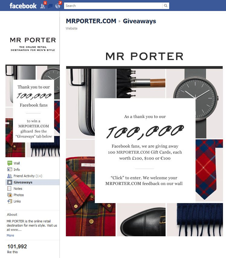 Mr Porter Facebook Page step 2