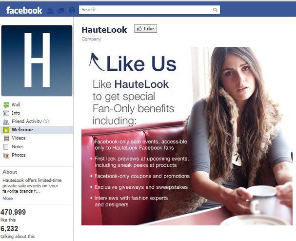 HauteLook Facebook Page