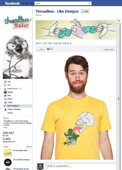 Threadless Facebook Page