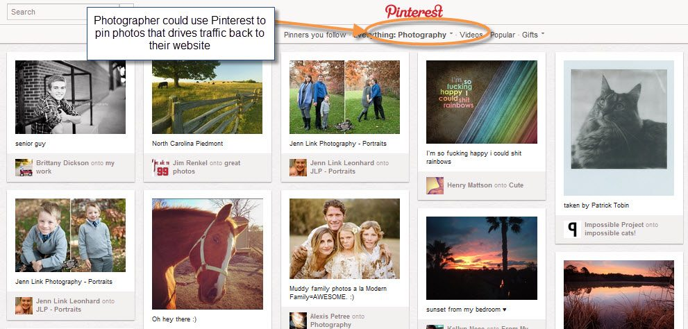 Pinterest for selling services
