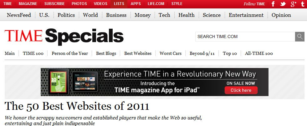 Time Magazine 50 Best Websites of 2011 Pinterest