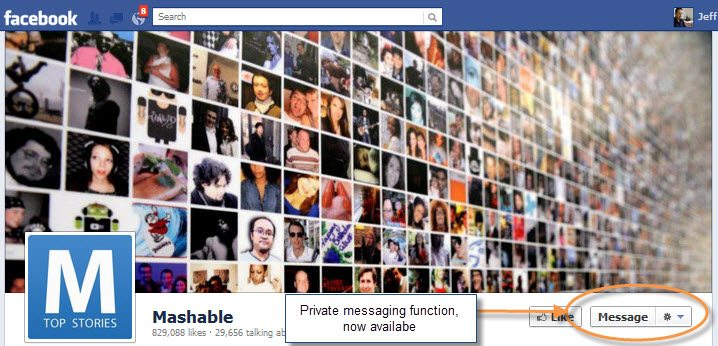 Private messaging now on Facebook pages