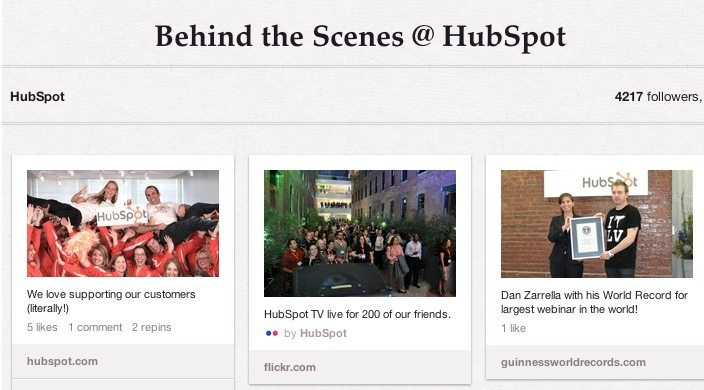 Behind the Scenes Board at Hubspot on Pinterest