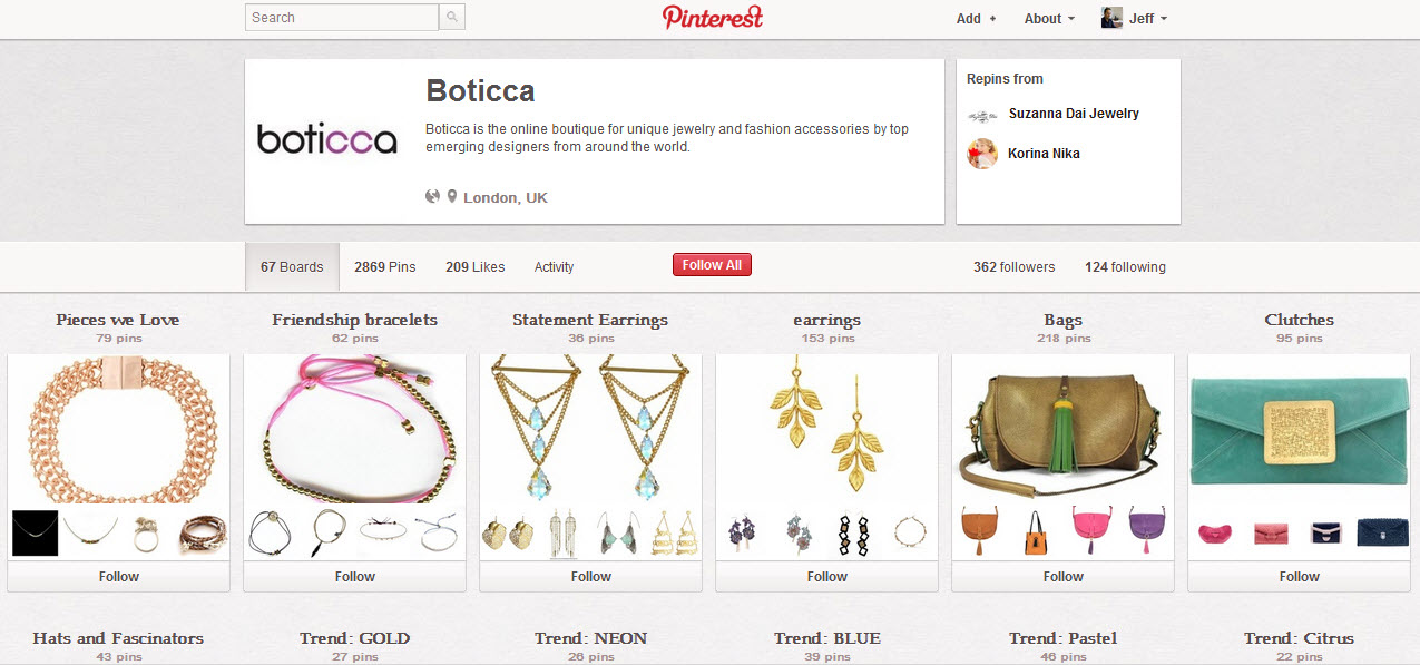 Bottica Pinterest page