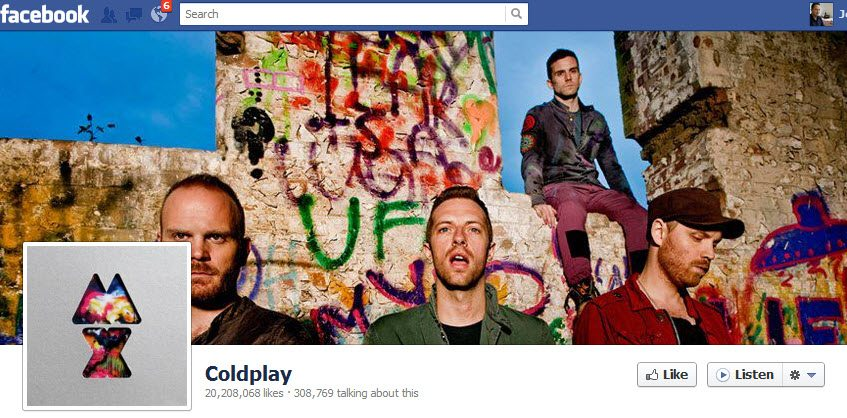 Coldplay Facebook page