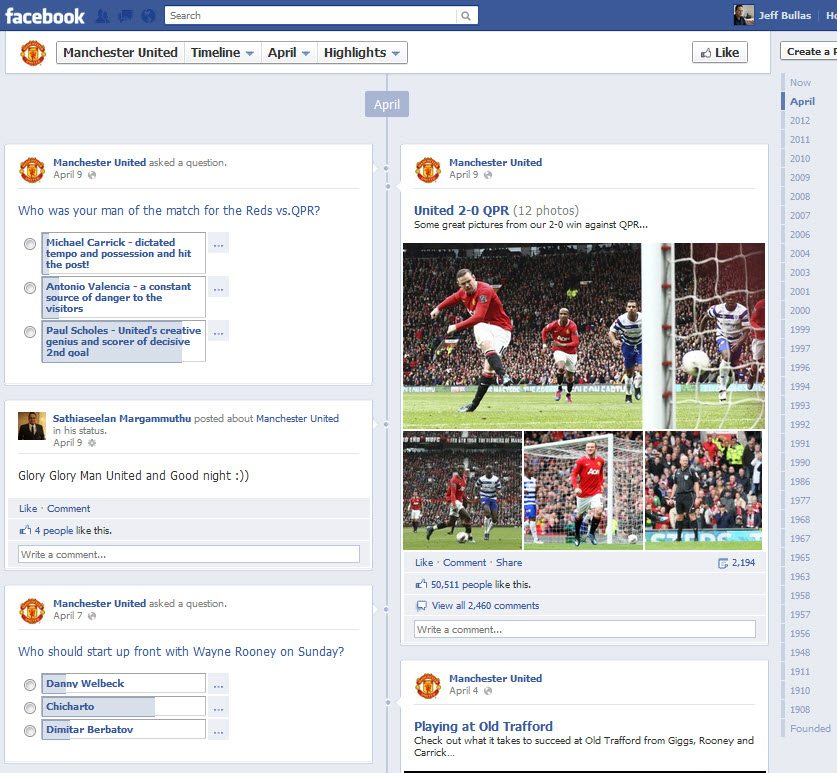 Manchester United Facebook Timeline