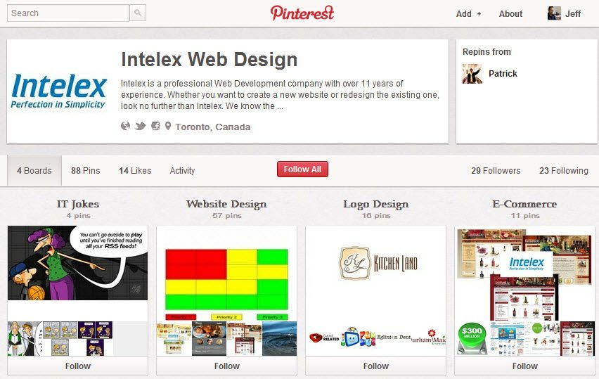 Web design products and services on Pinterest