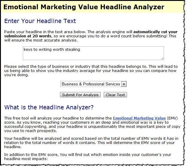 Emotional Marketing Headline Anaylzer tool