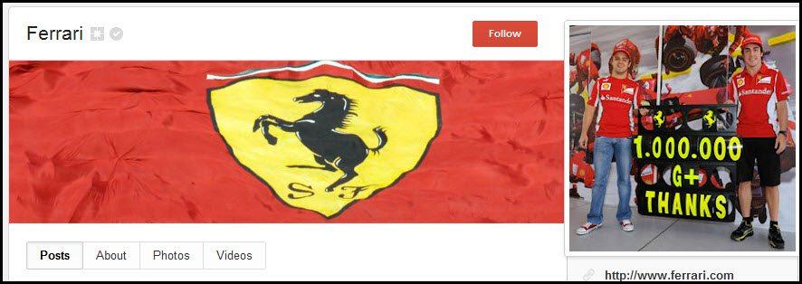 Ferrari Google+ page