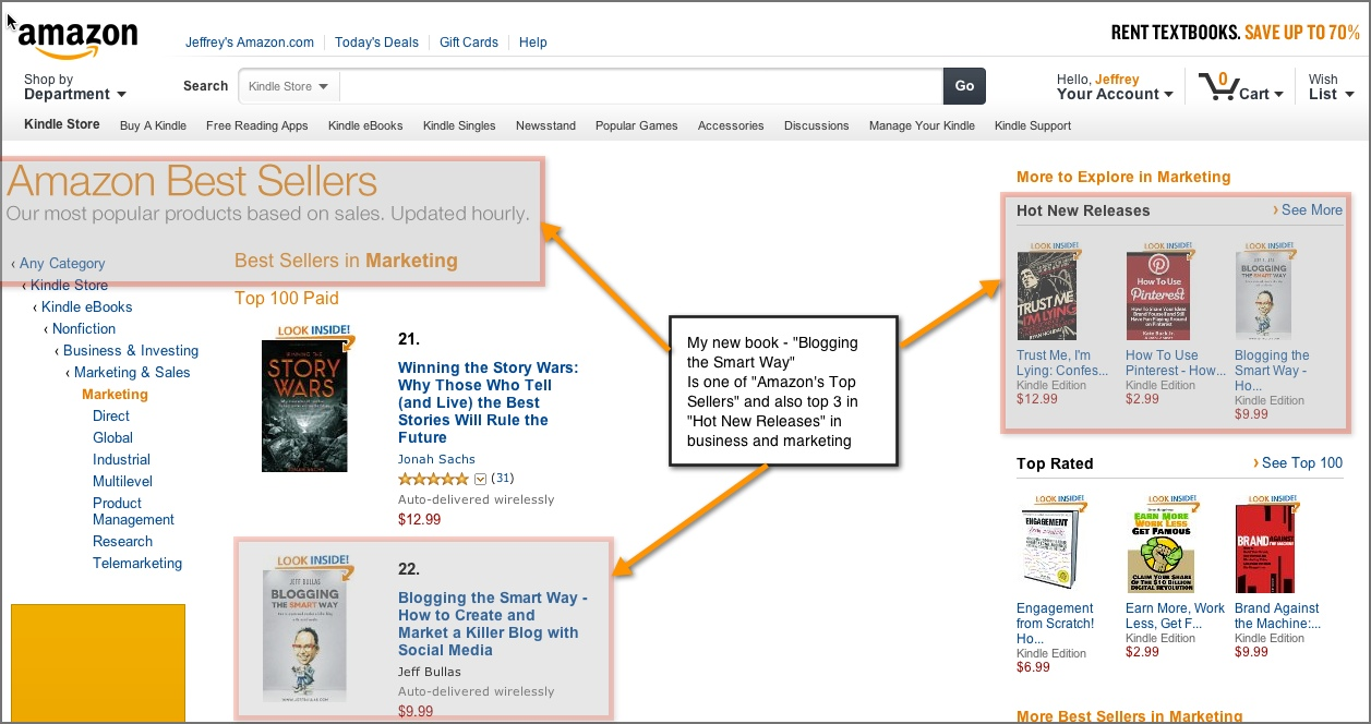 My book Blogging the Smart Way - How to Create and Market a Killer Blog with social media is now on Amazon's Hot  New releases as well as Amazon Best Seller list