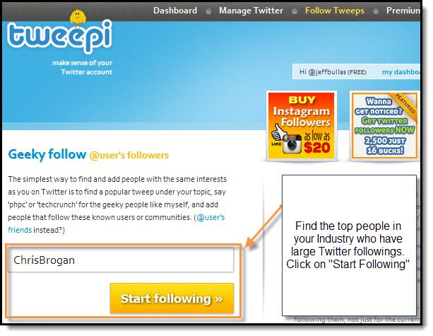 Follow top people on Twitter with Tweepi