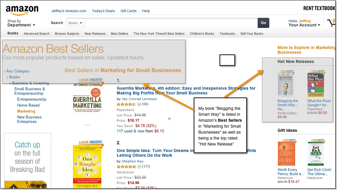 Jeff Bullas's book is an Amazon Best Seller in Marketing for Small Business- Blogging the Smart Way How to Create and Market a Blog with Social Media Marketing
