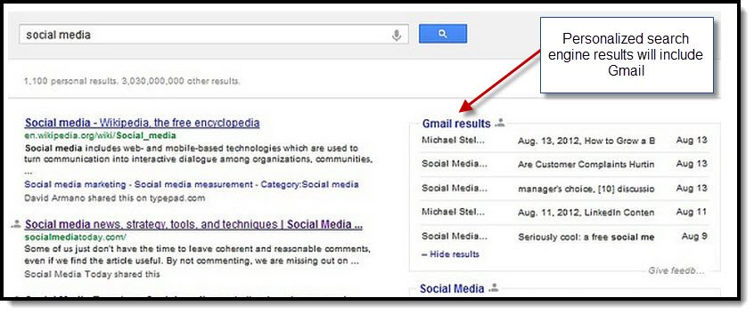 Personalized search engine results will include gmail