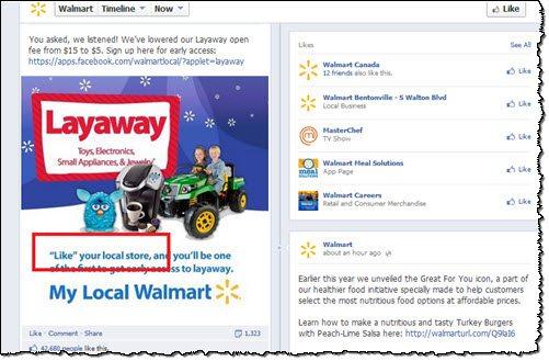 Walmart Facebook page