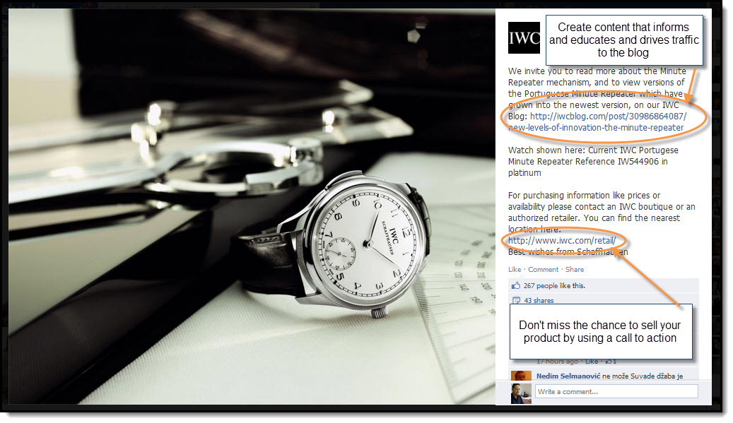 IWC Watches Facebook page