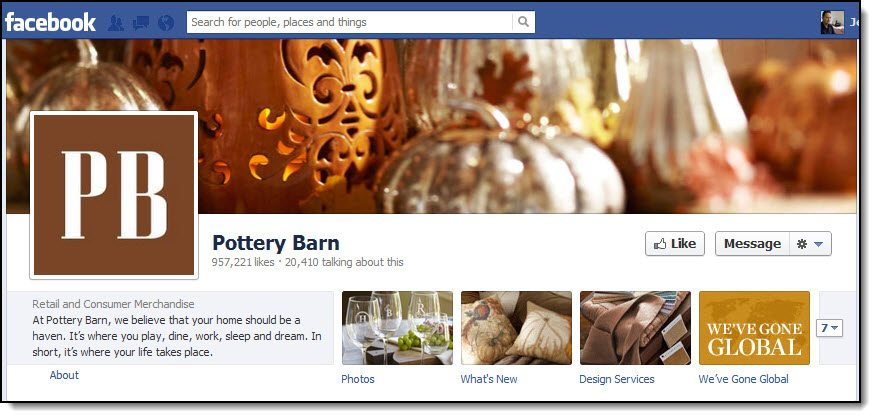 Pottery Barn Facebook page