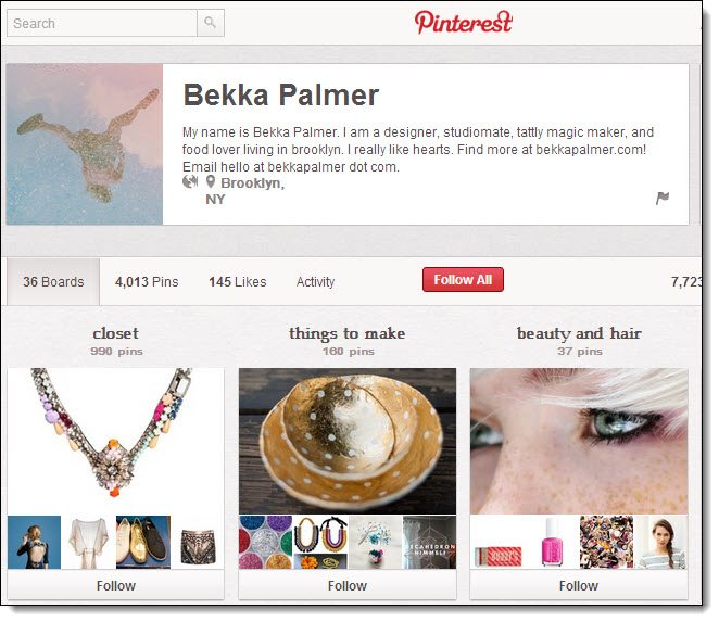 Bekka Palmer Top 5 on Pinterest