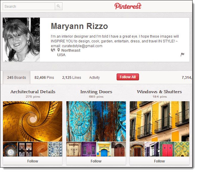Maryann Rizzo Top 5 on Pinterest