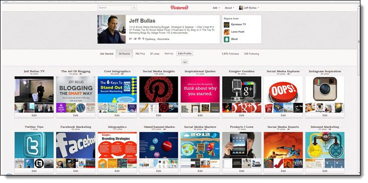 Pinterest Focused boards work best