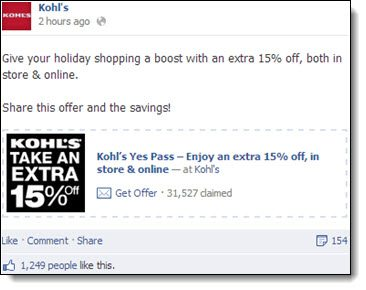 Kohls Facebook offer