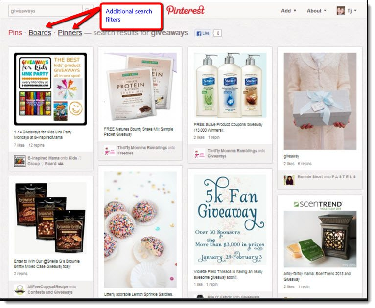 Searching for keywords on Pinterest