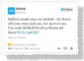 Air Bnb sponsored tweet