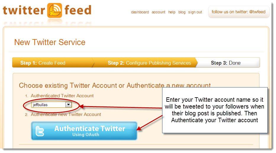 Twitterfeed step three