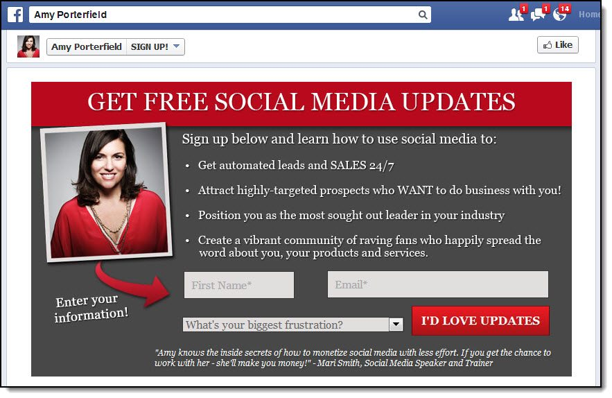 Amy Porterfield Facebook custom tab to capture and integrate email marketing on Facebook
