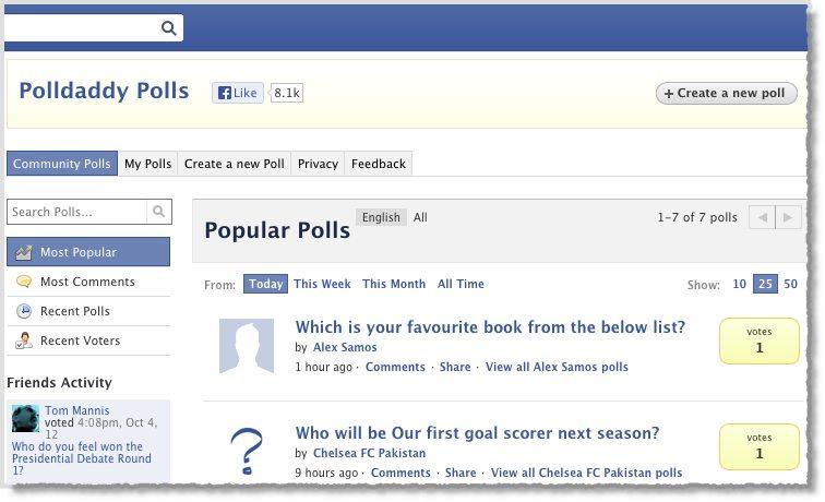 Facebook photo poll