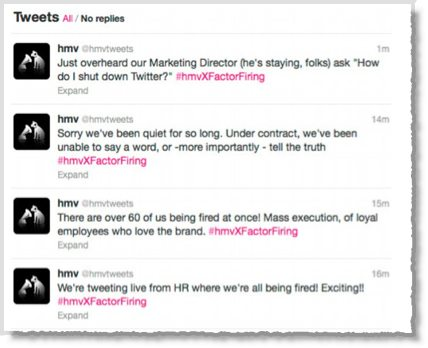 HMV Twitter account hijacked