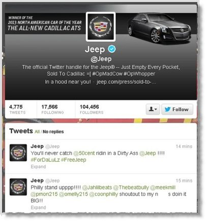 Jeep Twitter account hijacked