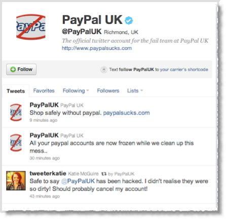 Paypal Twitter account hijacked