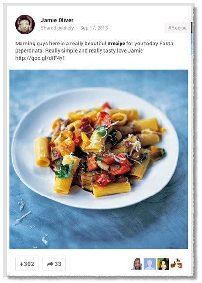 Jamie Oliver Google+ content