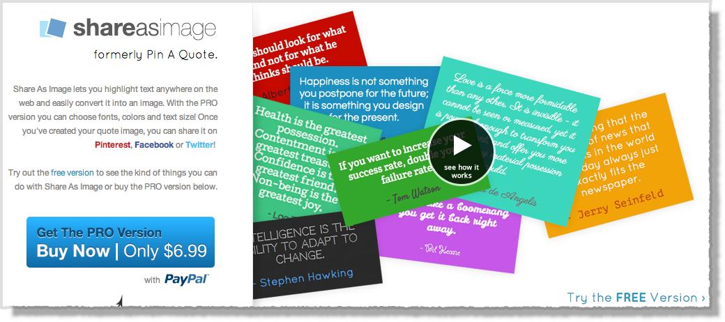 Pinterest tool shareasanimage