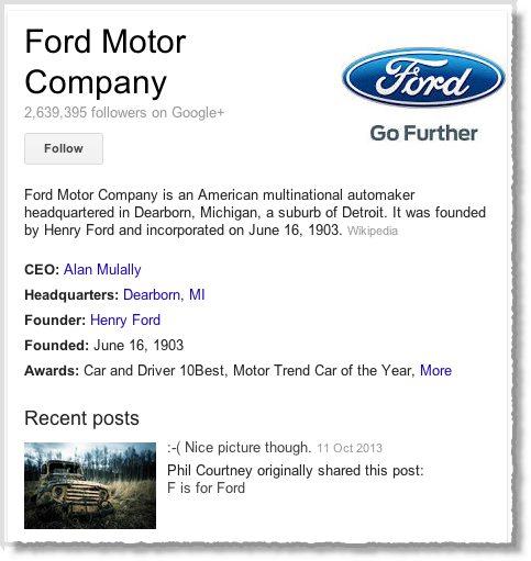 Ford Motor Company on Google+