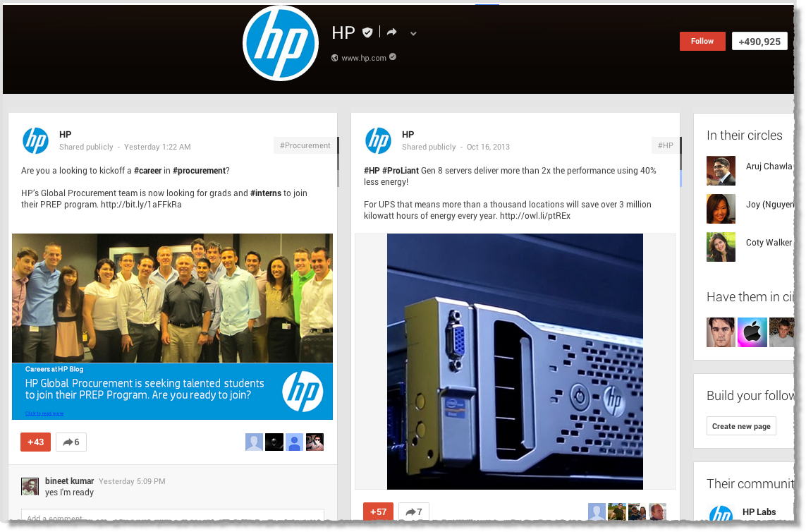 HP Google+ page