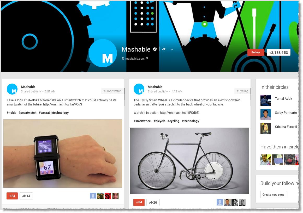 Mashable Google+ page