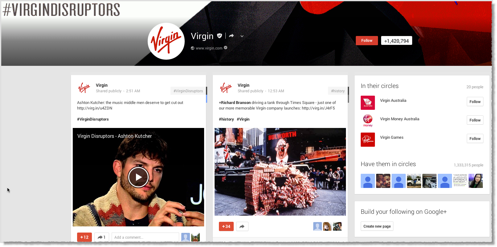 Virgin Google+ page