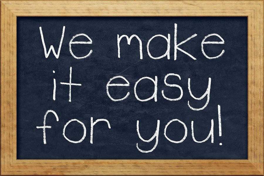 A nice black chalkboard with text we make it easy for you