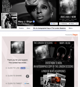 Mary J. Blige Facebook Contest