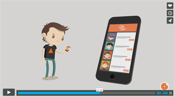 Gigtown explainer video mobile phone 4