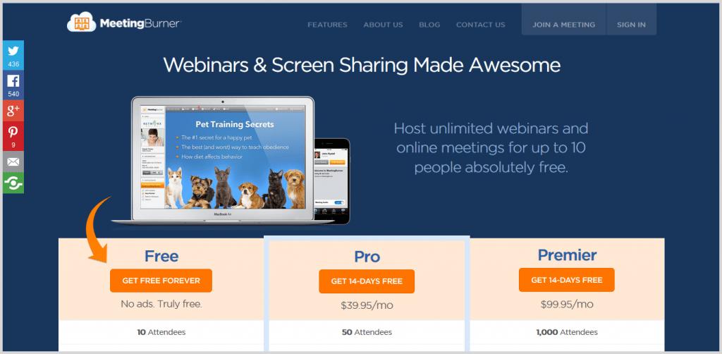 2 MeetingBurner Tool Is A Free Online Meeting