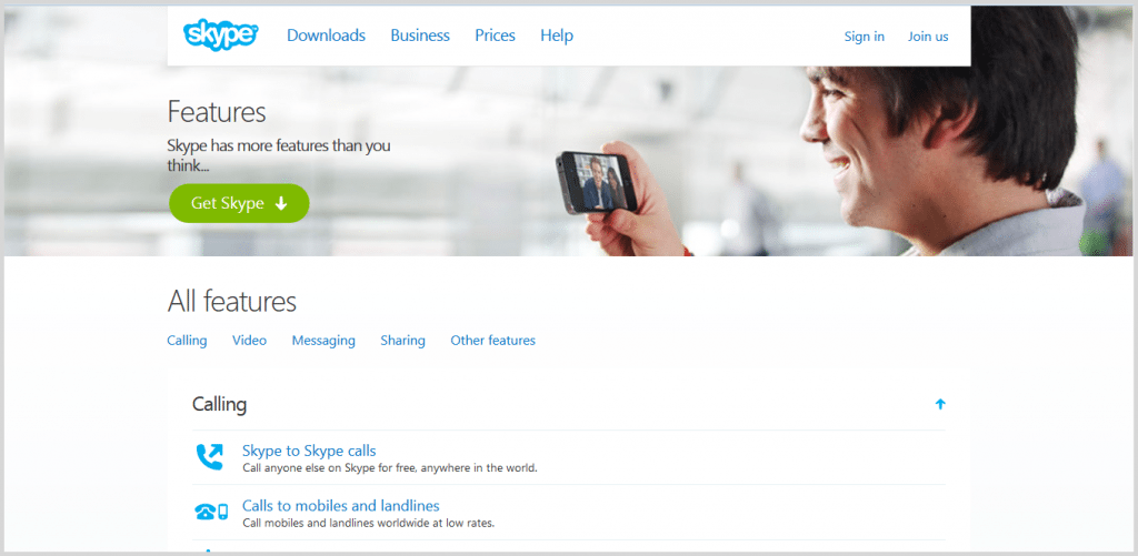 Skype meeting tool screenshot