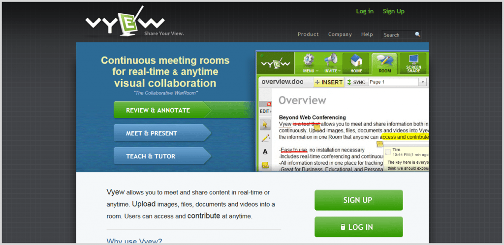 Vyew meeting tool screenshot