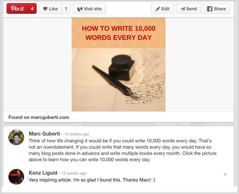 Call to action on Pinterest example screenshot