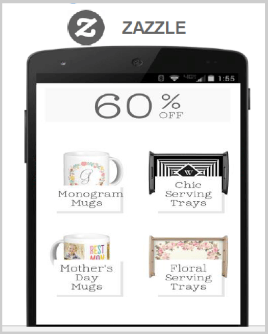 Example of mobile design - Zazzle