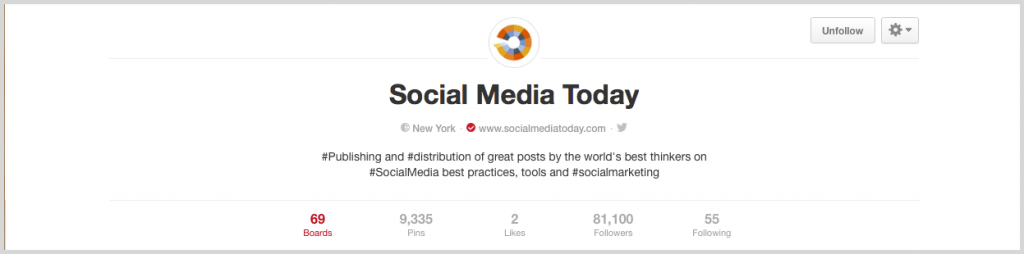 Example of social media today to follow on Pinterest screenshot