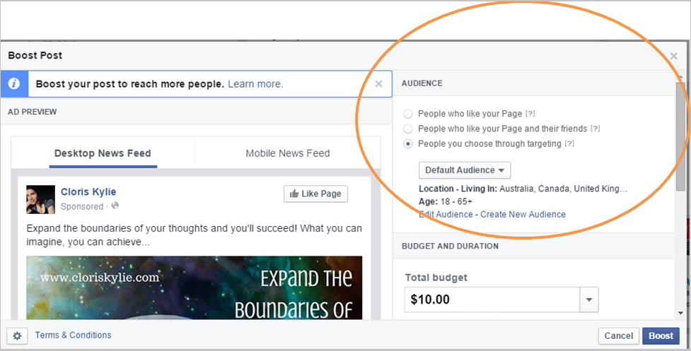 Facebook boost post feature