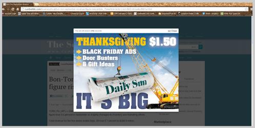 Interstitial advertising screenshot