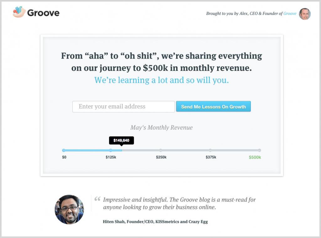 Social proof screenshot example Groove HQ